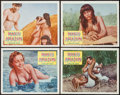 "Movie Posters:Adventure, Naked Amazon (Times Films Corp., 1954). Lobby Card Set of 4 (11"" X14""). Adventure.. ... (Total: 4 Items)"