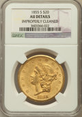 Liberty Double Eagles: , 1855-S $20 -- Improperly Cleaned -- NGC Details. AU. NGC Census:(92/464). PCGS Population (90/171). Mintage: 879,675. Numi...