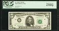 Small Size:Federal Reserve Notes, Fr. 1969-J $5 1969 Low Serial Number Federal Reserve Note. PCGS Superb Gem New 67PPQ.. ...