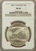 Modern Issues: , 1987-P $1 Constitution Silver Dollar MS69 NGC. NGC Census:(2823/479). PCGS Population (3494/332). Mintage: 451,629. Numism...