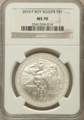 Modern Issues, 2010-P $1 Boy Scouts MS70 NGC. NGC Census: (5523). PCGS Population(2644). Numismedia Wsl. Price for problem free NGC/PCGS...