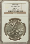 Modern Issues: , 1999-P $1 Yellowstone Silver Dollar MS69 NGC. NGC Census:(1234/448). PCGS Population (1949/256). Numismedia Wsl. Price fo...