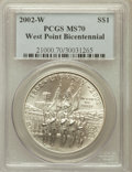 Modern Issues: , 2002-W $1 West Point Silver Dollar MS70 PCGS. PCGS Population(1012). NGC Census: (2402). Numismedia Wsl. Price for proble...