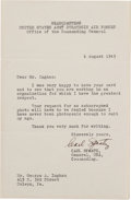Autographs:Military Figures, Carl Spaatz Typed Letter Signed....