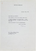 Autographs:Celebrities, Irving Berlin Typed Letter Signed....
