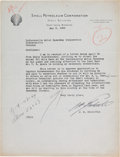 Autographs:Military Figures, [World War II]. James Doolittle Typed Letter Signed....