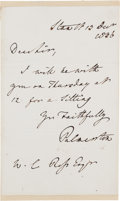 Autographs:Non-American, Lord Henry Palmerston Autograph Letter Signed....