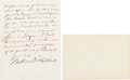 Autographs:Statesmen, [Abraham Lincoln]. William O. Stoddard Autograph Letter Signed....