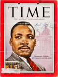 Autographs:Celebrities, Martin Luther King, Jr., Time Magazine Cover Signed....