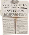Miscellaneous:Ephemera, [Napoleon Bonaparte]. Broadside for the City of Lille's 1807Birthday Festival for Emperor Napoleon I....