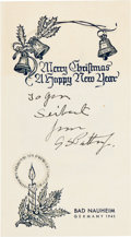 Autographs:Military Figures, George S. Patton Christmas Card Signed, circa 1945....