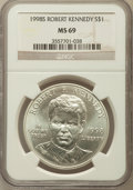 Modern Issues: , 1998-S $1 Robert F. Kennedy Silver Dollar MS69 NGC. NGC Census: (2017/740). PCGS Population (2402/233). Numismedia Wsl. Pr...