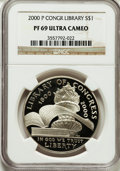 Modern Issues: , 2000-P $1 Library of Congress PR69 Ultra Cameo NGC. NGC Census:(1731/43). PCGS Population (1581/85). Numismedia Wsl. Pric...