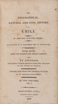 Books:Travels & Voyages, J. Ignatius Molina. The Geographical, Natural and Civil Historyof Chili. Middleton, 1808. First Edition in English.... (Total:2 Items)