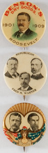 """Political:Pinback Buttons (1896-present), Theodore Roosevelt: Trio of 7/8"""" Buttons.... (Total: 3 Items)"""