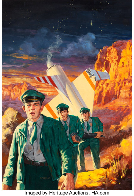 ROBERT SCHULTZ (American, 1928-1978) Three to Conquer, Ace Double paperback cover, 1956 Oil on board 22.5 x 15.5 in. ...