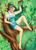 Pin-up and Glamour Art, BILLY DE VORSS (American, 1908-1985). Beauty Sitting in a Tree,Brown & Bigelow calendar illustration. Oil on canvas. 30...