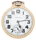 Timepieces:Pocket (post 1900), Hamilton 21 Jewel Model 992 B Open Face Pocket Watch. ...