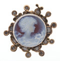 Estate Jewelry:Brooches - Pins, Hardstone Cameo, Gold, Sterling Silver Brooch. ...