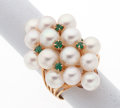 Estate Jewelry:Rings, Cultured Pearl, Emerald, Gold Ring. ...