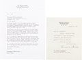 Autographs, Bernard Baruch Typed Letter Signed... (Total: 2 Items)