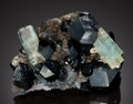 Minerals:Cabinet Specimens, AQUAMARINE with SCHORL TOURMALNE. Erongo Mountain, ErongoRegion, Namibia. ...