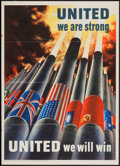 """Movie Posters:War, World War II Propaganda (U.S. Government Printing Office, 1943).Poster (20"""" X 28"""") """"United We Are Strong."""" War.. ..."""