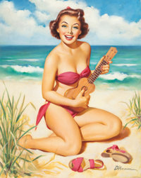 EDWARD D'ANCONA (American, 20th Century) Pin-Up with Ukulele Oil on board 27 x 22 in. Signed l