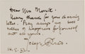 Autographs:Authors, Joseph Conrad Autograph Note Signed....