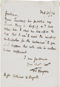 Autographs:Authors, Alfred Lord Tennyson Autographed Letter Signed ...