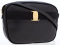 Luxury Accessories:Bags, Salvatore Ferragamo Black Lambskin Leather Vara Bow Crossbody Bag....