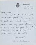 Autographs:Military Figures, Bernard Montgomery of Alamein Autograph Letter Signed....