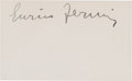 Autographs, Enrico Fermi Signed Card....