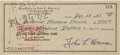 Autographs:Authors, Jack Kerouac Personal Check Signed...