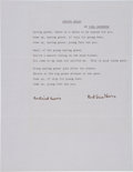 Autographs:Authors, Carl Sandburg Typed Poem Signed....