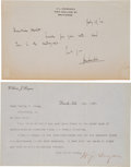 Autographs:Statesmen, [Scopes Trial] Two Items... (Total: 2 Items)