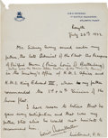 Autographs:Non-American, Lord Louis Mountbatten of Burma Autograph Letter Signed...