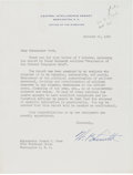 Autographs:Military Figures, Walter Bedell Smith Typed Letter Signed....
