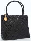 Luxury Accessories:Bags, Chanel Black Patent Leather Medallion Tote Bag with Gold Hardware....