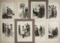 """Books:Prints & Leaves, Honoré Daumier, artist. Lot of Eight 19th Century FrenchCaricatures From a Series Titled """"Les Gens de Justice"""". ..."""