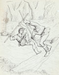 Mainstream Illustration, GARTH WILLIAMS (American, 1912-1996). Robin Hood, original bookillustrations (pair), 1948. Pen on paper. 15.5 x 12 in. ...(Total: 2 Items)