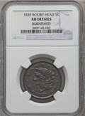 Large Cents: , 1839 1C Booby Head -- Burnished -- NGC Details. AU. NGC Census:(8/138). PCGS Population (5/106). Mintage: 3,128,661. Numis...
