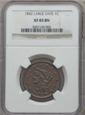 Large Cents: , 1842 1C Large Date XF45 NGC. NGC Census: (4/131). PCGS Population(18/117). Mintage: 2,383,390. Numismedia Wsl. Price for p...
