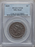 Large Cents: , 1839 1C Silly Head VF30 PCGS. PCGS Population (6/79). NGC Census:(6/92). Mintage: 3,128,661. Numismedia Wsl. Price for pro...