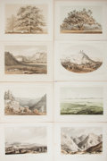 """Books:Prints & Leaves, Lot of Eight Tinted Lithographs From the Pacific Railroad Survey,Circa 1860. 11.5"""" x 8.5"""" overall. Various views of the wes..."""