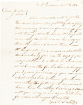 """Autographs:Inventors, Samuel Slater Autograph Letter Signed """"S. Slater."""" One page,7.75"""" x 10"""", Providence, Rhode Island, October 21, 1812, to..."""