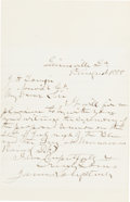 "Autographs:Military Figures, James Longstreet Autograph Letter Signed ""James Longstreet."" ..."