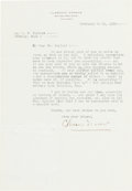 Autographs:Celebrities, Clarence Darrow Typed Letter Signed....