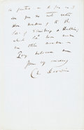 Autographs:Authors, Charles Darwin Autograph Letter Signed...