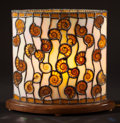 "Lapidary Art:Lamps, ELLIPTICAL ""STAINED GLASS"" AMMONITE LAMP. Cleoniceras sp. .Cretaceous . Madagascar. ..."